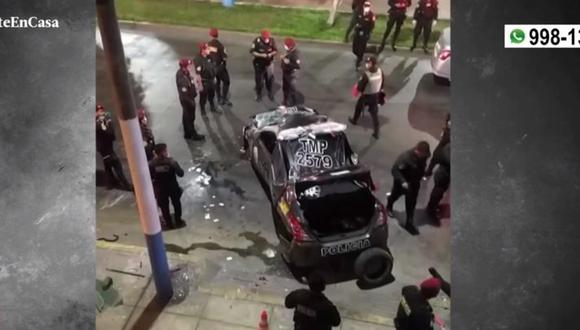 Dos policías heridos tras despiste de patrullero en el Callao esta madrugada. (Captura: América Noticias)