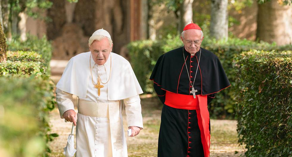 "Anthony Hopkins y Jonathan Pryce en ""The Two Popes"". (Foto: Netflix)"