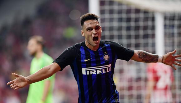 El argentino Lautaro Martínez fue el autor de esta notable definición para poner el 1-0 de Inter de Milán sobre Atlético de Madrid. (Foto: AFP)