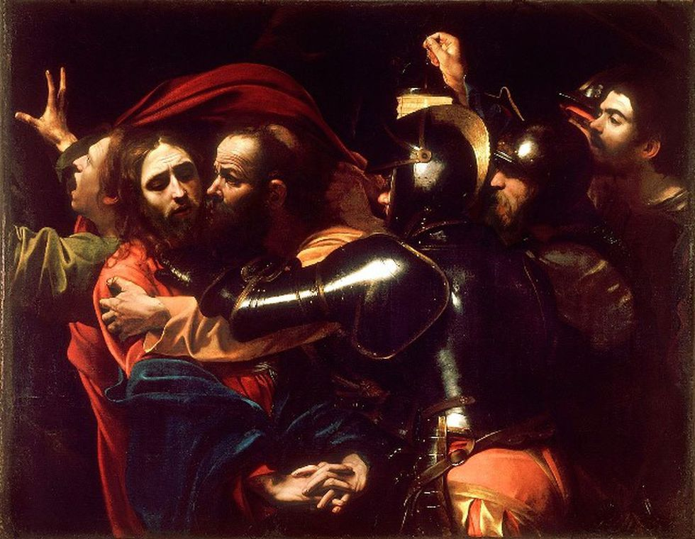 """""""El prendimiento de Cristo"""" o """"El beso de Judas"""" es una pintura realizada aproximadamente en 1602 por el artista barroco italiano Michelangelo Merisi da Caravaggio. La obra se encuentra en la Galería Nacional de Irlanda, en Dublín."""