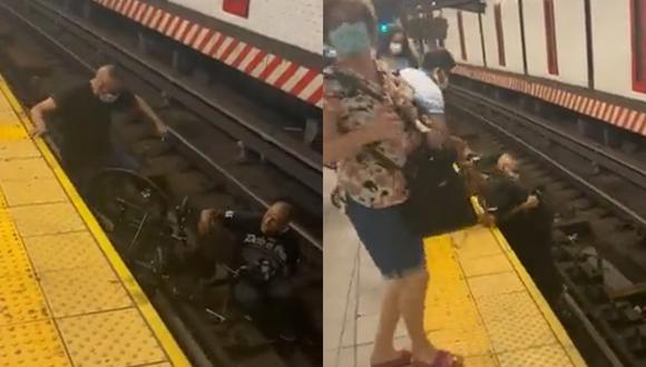 Un hombre salva a otro en silla de ruedas que había caído a unos rieles de tren (Foto: Twitter)