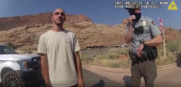 In this police film from August 12, 2021, Brian Laundry talks to officers who responded to a dispute with his girlfriend Gabrielle Petito.  (HANDOUT / MOAB City Police Department / AFP).