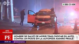 Hombre se salva de morir tras impactarse contra un poste en la avenida Ramiro Prialé