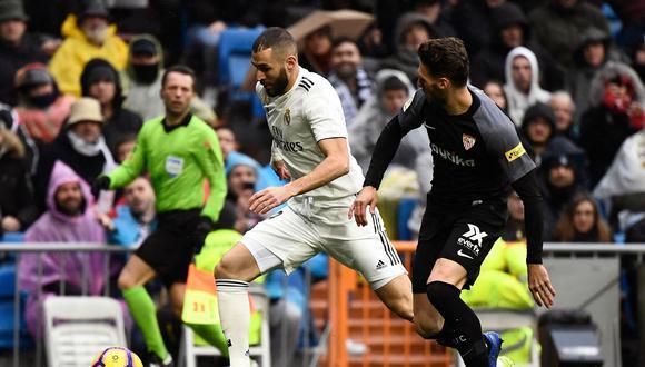 LaLiga 2018 - 2019   Real Madrid vs. Sevilla este sábado (10:15 am. EN VIVO ONLINE vía DirecTV Sports) por la fecha 20° de la Liga española. El cotejo se desarrollará en el Santiago Bernabéu (España).(Foto: AFP)