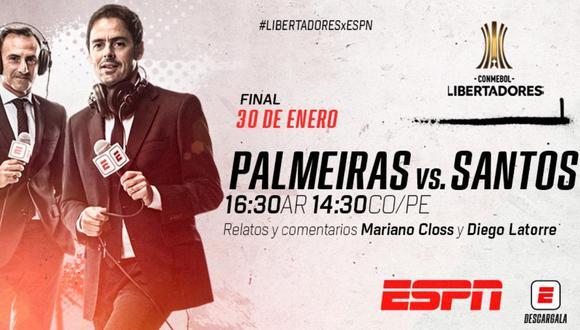 ESPN es el canal oficial que se encargará de la transmisión de la final de Copa Libertadores 2020 entre Palmeiras y Santos