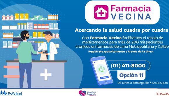 EsSalud señaló que los pacientes que deseen afiliarse al programa Farmacia Vecina deberán llamar a la línea  411 8000 y marcar el anexo 11. (Twitter)