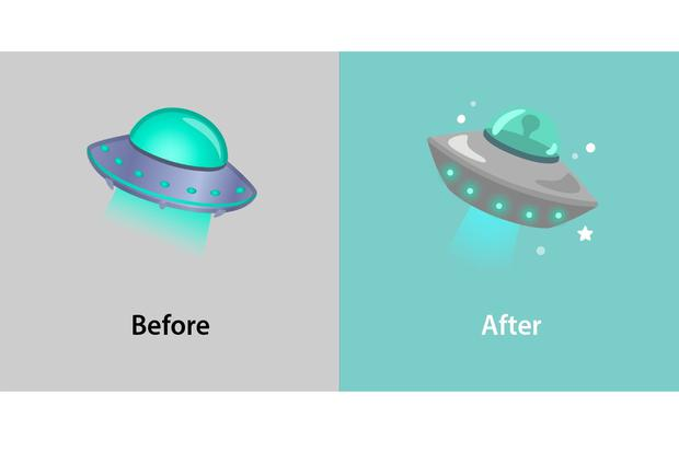 Mars and spaceship will now be more visible in the new emojis.  (Photo: Emojipedia)