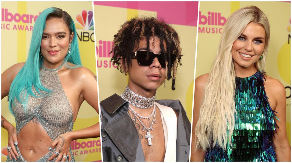 De izquierda a derecha Karol G, Iain Dior y Tanya Rad en su paso por la alfombra roja de los Billboard Music Awards 2021. Fotos: E! Entertainment.
