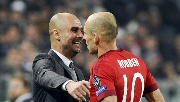Arjen Robben escogió a Pep Guardiola como el mejor entrenador del mundo. (Foto: REUTERS)