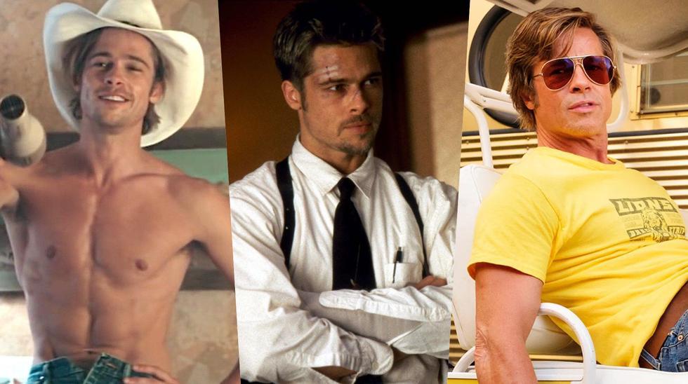 """De izquierda a derecha, Brad Pitt en """"Thelma y Louise"""" (1991), """"Seven"""" (1995) y """"Once Upon a Time in Hollywood"""" (2019); roles que lo han consolidado como uno de los mayores actores del mundo. Fotos: MGM/ New Line/ Sony."""