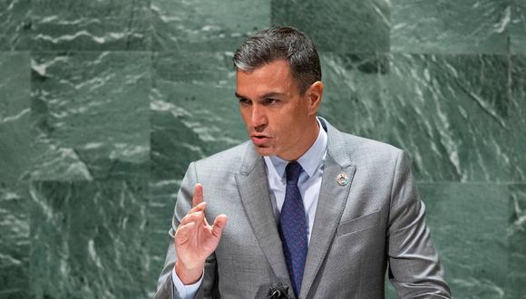 El presidente del gobierno de España, Pedro Sánchez, habla durante la Asamblea General de la ONU el 22 de septiembre de 2021 en Nueva York. (EDUARDO MUNOZ / AFP).