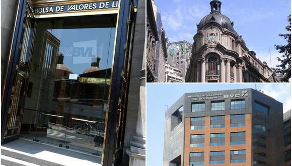 Bolsas de valores de Lima, Santiago y Bogotá.