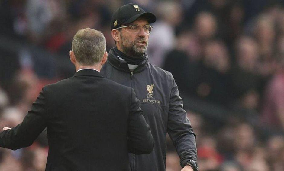 Manchester United y Liverpool protagonizaron un partido sin goles por la Premier League. En la despedida entre ambos técnicos, el alemán tuvo fuertes calificativos para el duelo jugado en Old Trafford (Foto: AFP)