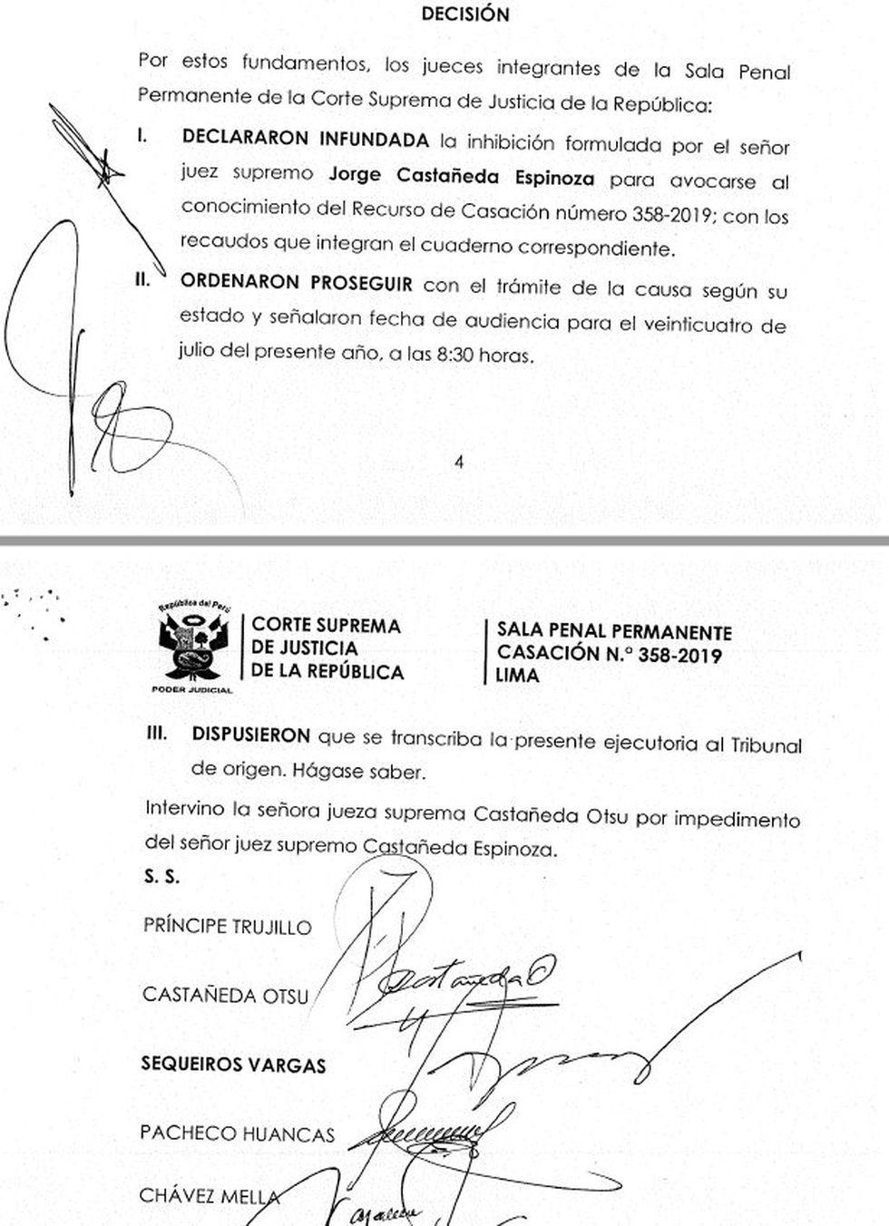 Decisión de la Sala Penal Permanente sobre inhibición del juez Jorge Castañeda Espinoza.