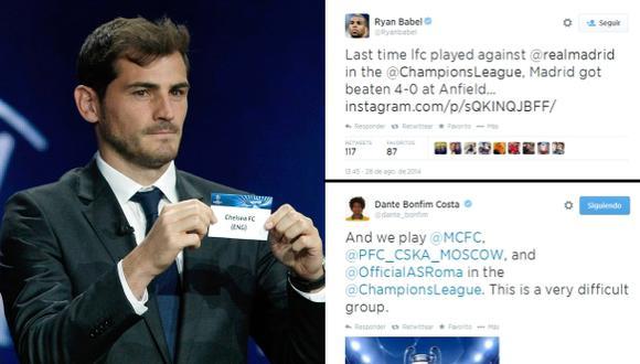 Champions: la reacción de los jugadores en Twitter tras sorteo