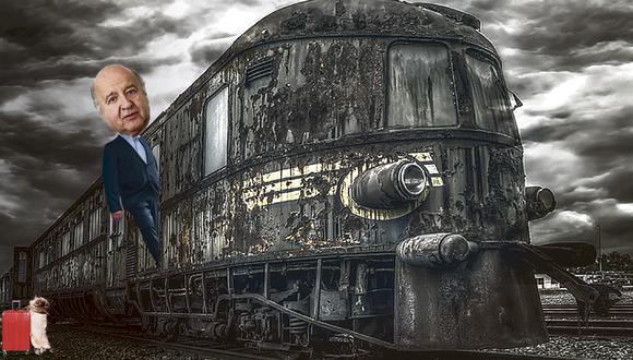 """""""Si como sugiere su símbolo, Avanza País es un tren, a Hernando de Soto hay que imaginarlo deambulando por pasillos desiertos y cabinas abandonadas, camino de la estación final del proyecto político que emprendió meses atrás"""". (Ilustración: Víctor Aguilar)"""