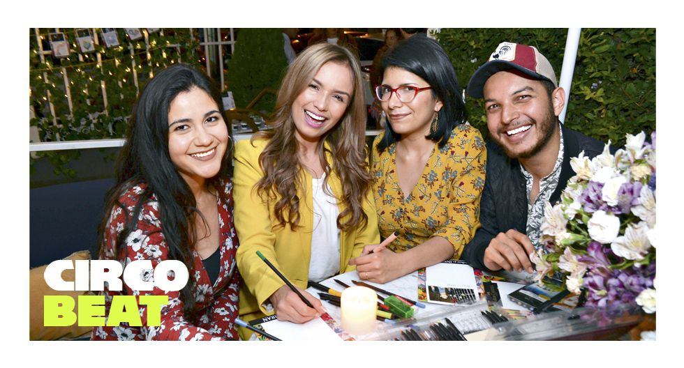 """Analía Espino, Gabrielle Peña Vásquez, Alicia Ugaz y Rubén Colorado en el lanzamiento oficial de las libretas """"Historias que inspiran"""", de Faber-Castell. Las Bolena."""