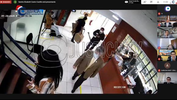 El video muestra a José Luna Gálvez y su abogado reuniéndose con la fiscal Flor Erazo. (Justicia TV)