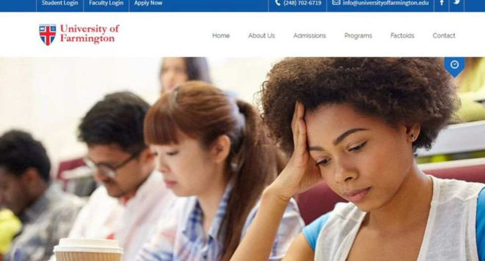 La universidad contaba con todas las licencias requeridas por la ley y una amplia actividad en internet y en las redes sociales. (UNIVERSITY OF FARMINGTON).