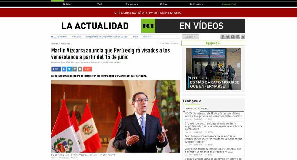 """La agencia rusa RT ofrece la noticia como: """"Martín Vizcarra anuncia que Perú exigirá visados a los venezolanos a partir del 15 de junio""""."""