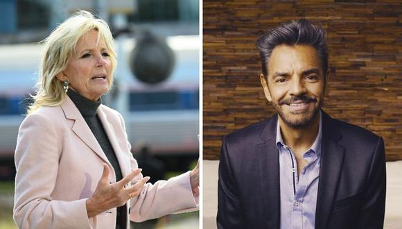 Jill Biden y los esposos Derbez mantuvieron una charla sobre el futuro de los latinos en EE.UU.. (Foto: Roberto Schmidt / AFP / Instagram @ederbez).
