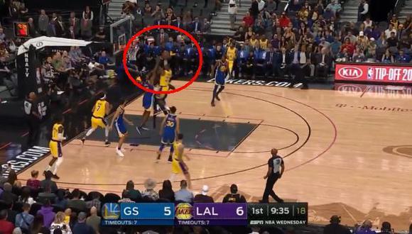 LeBron James y la gran jugada empezando el partido   Foto: captura