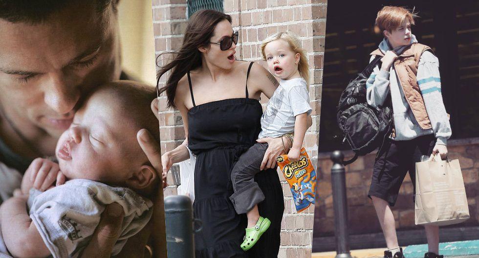 De izquierda a derecha: Brad Pitt junto a una bebé Shiloh. (Centro) Angelina Jolie junto a su hija más crecida (Derecha) La menor en la actualidad.