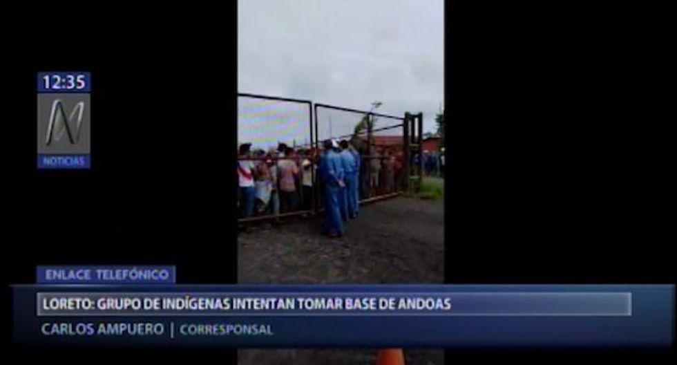 Los indígenas demandan que la empresa petrolera se haga cargo de un derrame de crudo ocurrido hace un mes atrás. (Foto captura: Canal N)