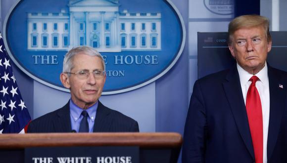 El presidente Donald Trump y director del Instituto Nacional de Alergia y Enfermedades infecciosas, Anthony Fauci. (Foto: Reuters)
