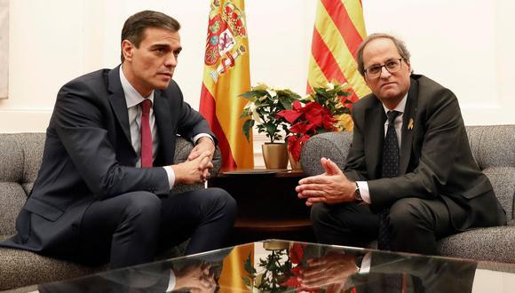 España: Pedro Sánchez y presidente catalán se reúnen en Barcelona. (EFE).