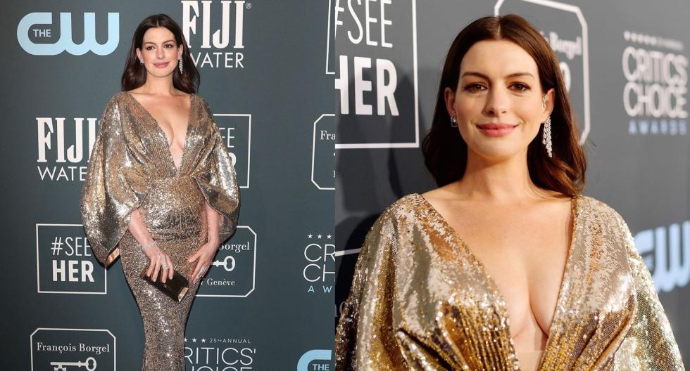 La actriz Anne Hathaway fue una de las mejores vestidas en los Critics Choice Awards. Recorre la galería para ver más detalles de su espectacular vestido. (Foto: AFP)