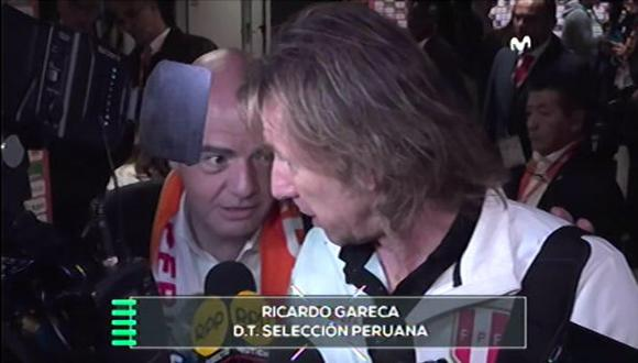 El presidente de la FIFA saludó a Ricardo Gareca con un abrazo. (Captura: Movistar Deportes)
