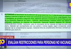 Coronavirus en Perú: Evalúan restricciones para personas no vacunadas