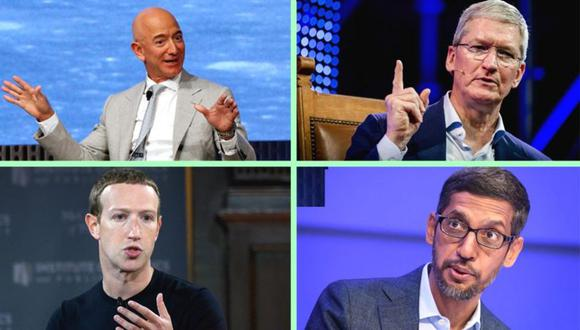 Jeff Bezos, de Amazon; Tim Cook, de Apple; Mark Zuckerberg, de Facebook y Sundar Pichai, de Google, comparecieron en el Congreso para defender sus empresas. (GETTY IMAGES/EPA/REUTERS)