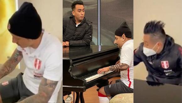 "Jorge Benavides prepara sketch de Gianluca Lapadula y Christian Cueva ""tocando"" piano. (Foto: @SeleccionPeru/@jbjorgebenavides)."