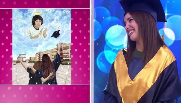 Rosángela Espinoza no pudo hablar ante la emoción del obsequio por su graduación. (Foto: Captura América Tv).