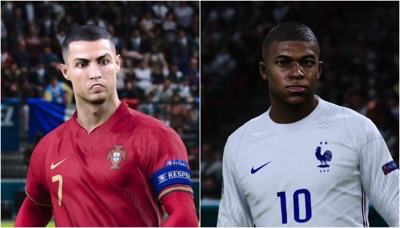 Cristiano Ronaldo y Kylian Mbappé en PES 2021. (Captura de pantalla)