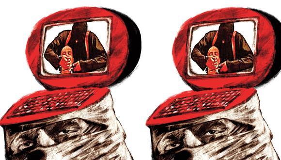 """""""Una buena parte de los terroristas son captados en países occidentales a través de las redes sociales"""". (Ilustración: Víctor Sanjinez)"""