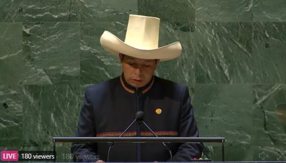 Pedro Castillo participó este martes 21 en el 76° Asamblea General de la ONU. (imagen: twitter @NoticiasONU)