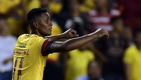 Fidel Martínez, atacante de Barcelona de Guayaquil, abrió el marcador en el duelo ante Sporting Cristal. | Foto: AFP