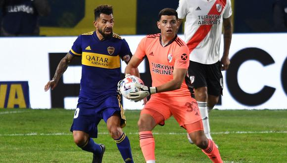 Alan Díaz fue titular en el arco de River Plate ante Boca Juniors. (Foto: EFE)