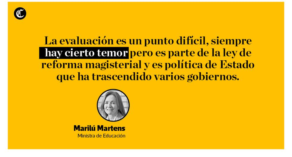 La ministra de Educación, Marilú Martens, exhortó a los maestros a que dejen de acatar una huelga que, consideró, está respondiendo a intereses políticos ya que han atendido las demandas del magisterio. (Composición: El Comercio)