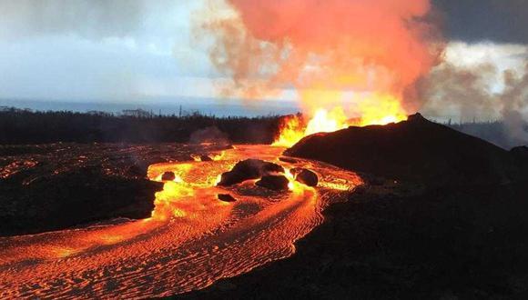 Ingemmet: Esta imagen corresponde al volcán Kilauea, en Hawai, con erupciones de flujo de lava. (Foto Ingemmet)