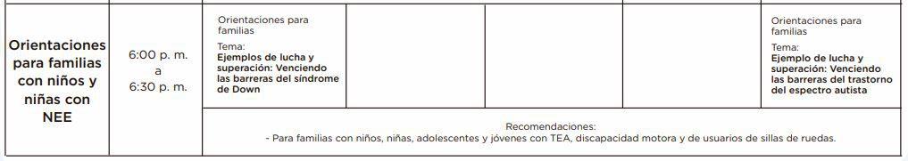 Orientaciones para familias con niños y niñas con NEE
