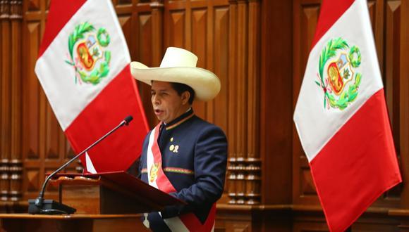 Pedro Castillo se dirigió al Congreso de la República en el hemiciclo. (Foto: Congreso)