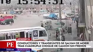 Camión pierde el control y ocasiona un cuádruple choque en Jicamarca