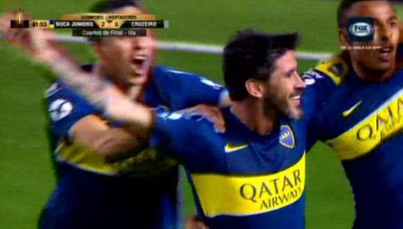 Boca Juniors vs. Cruzeiro: el golazo de Pablo Pérez para el 2-0 en la Bombonera. (Foto: captura)