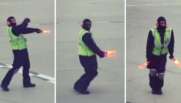 Un trabajador aeropuertario alegra los viajes de los usuarios de un terminal aéreo en Canadá con sus originales bailes. (Foto: Ekaterina Irko en Facebook)