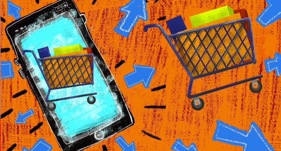 Un 80% de firmas del sector retail cuentan con un e-commerce. En el mes de junio solo 20% afirmaba tener algún tipo de canal de venta online. Ello cambió con la pandemia. (Ilustración: Giovanni Tazza/El Comercio)