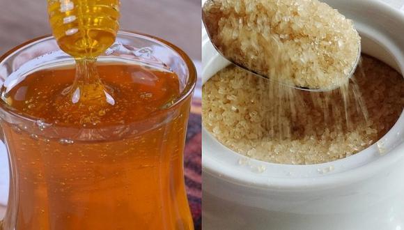 Tanto la miel de abeja como la panela son alternativas más sanas para darle dulzor a los alimentos o bebidas. (Foto: ExplorerBob y Olga Bochajewska / Pixabay)